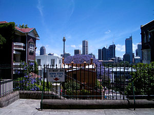 Potts Point, New South Wales - View across Potts Point to the Sydney CBD from St Neot Avenue