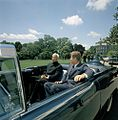 President John F. Kennedy and President Dr. Sarvepalli Radhakrishnan of India in Car Before Motorcade (6).jpg