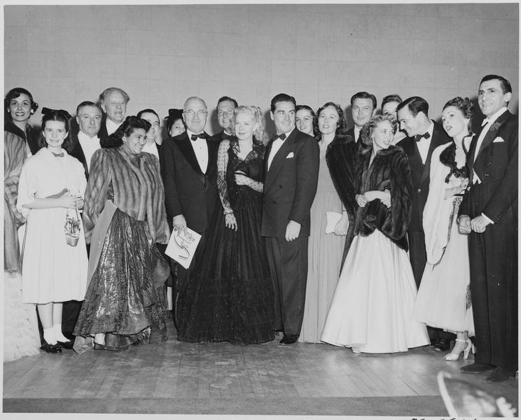 File:President Truman poses with performers at the inaugural gala at the National Guard Armory in Washington, D. C. Lena... - NARA - 200002.tif
