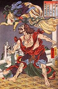 Folklore lié au renard dans RENARD 190px-Prince_Hanzoku_terrorised_by_a_nine-_tailed_fox