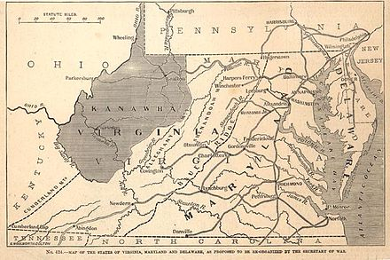 On October 24, 1861, when voters from 41 counties voted to form a new state, voter turnout was 34%. The name was subsequently changed from Kanawha to West Virginia. Proposed state of kanawha.jpg