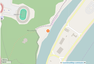 Pubyok Pavilion - The Pavilion marked with an orange circle. Located near the Taedong River, in the Moranbong Park.