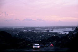 View overlooking Pearl Harbor and Aloha Stadium from the Aiea Heights neighborhood of Aiea