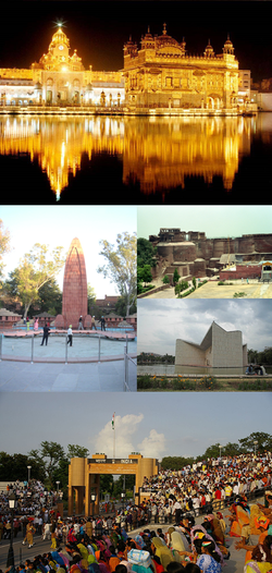 Bottom to top: Harmandir Sahib, Qila Mubarak, Gandhi Bhavan, Wagah Border, Jallianwala Bagh Memorial
