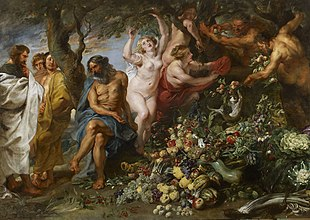 Painting showing Pythagoras on the far left quizzically stroking his beard as he gazes upon a massive pile of fruits and vegetables. Two followers stand behind him, fully clothed. A man with a greying beard sits at the base of a tree gesturing to the pile of produce. Next to him, a fleshy, nude woman with blonde hair plucks fruits from it. Slightly behind her, two other women, one partially clothed and the other nude but obscured by the tree branch, are also plucking fruits. At the far right end of the painting, two nude, faun-like men with beards and pointed ears hurl more fruits upon the pile.