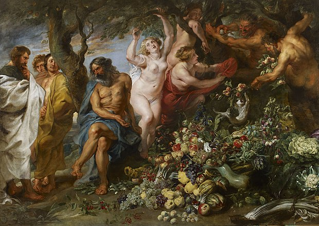 Pythagoras Advocating Vegetarianism (1618-1630) by Peter Paul Rubens was inspired by Pythagoras's speech in Ovid's Metamorphoses. The painting portrays the Pythagoreans with corpulent bodies, indicating a belief that vegetarianism was healthful and nutritious. Pythagoras advocating vegetarianism (1618-20); Peter Paul Rubens.jpg