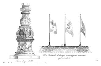Alessandro Leopardi - Engraving of the base of the central flagpole in Piazza San Marco
