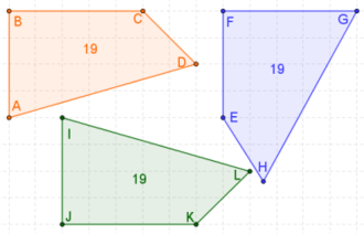 Corresponding sides and corresponding angles - The orange and green quadrilaterals are congruent; the blue one is not congruent to them. Congruence between the orange and green ones is established by the facts that side BC corresponds to (in this case of congruence, equals in length) JK, CD corresponds to KL, DA corresponds to LI, and AB corresponds to IJ, while angle C corresponds to (equals) angle K, D corresponds to L, A corresponds to I, and B corresponds to J.