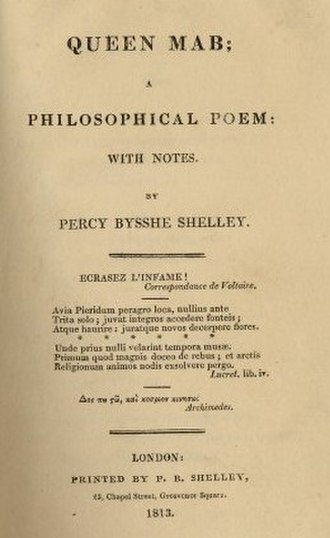 Queen Mab (poem) - Title page of the limited first edition printed by Shelley himself, 1813.