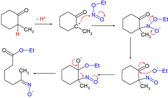 Alkyl nitrites - Reaction mechanism for ring opening