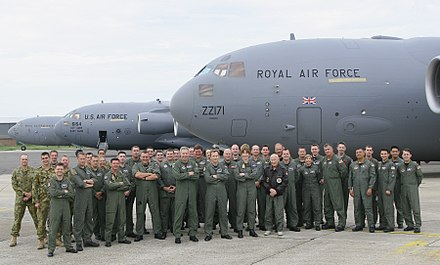 Australian, British and United States C-17 Globemasters and aircrew in Britain during 2007 RAF RAAF USAF C-17s 2007.jpg
