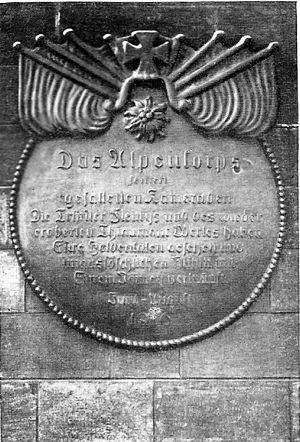 Alpenkorps (German Empire) - Plaque on a monument erected in Azannes August 1916