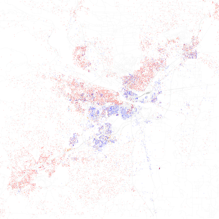 Map of racial distribution in Little Rock, 2010 U.S. Census. Each dot is 25 people: White, Black, Asian, Hispanic or Other (yellow) Race and ethnicity 2010- Little Rock (5560426642).png