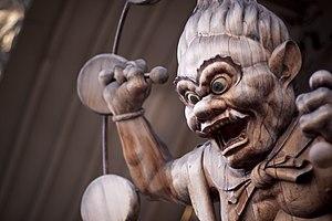 Raijin - Wooden sculpture of Raijin located at the Hawaii Shingon Mission
