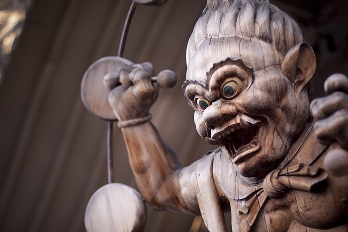 Wooden sculpture of Raijin located at the Hawaii Shingon Mission Raijin.jpg