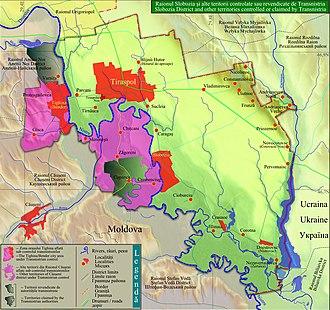 Slobozia District - Image: Raionul Slobozia si alte teritorii controlate sau revendicate de Transnistria