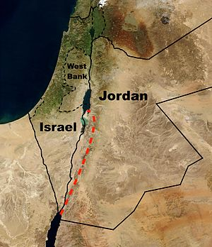 Red Sea–Dead Sea Water Conveyance - The planned Red Sea–Dead Sea Canal shown in red, lies entirely in Jordan and will be implemented by Jordan.