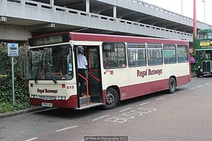 Regal Busways - Alexander bodied Dennis Dart in May 2013 in the previous cream and maroon livery