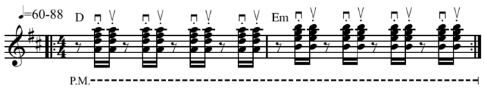 "Skank guitar rhythm often considered ""'the' reggae beat"" Play straight (help*info) or Play shuffle (help*info) . Reggae double riff on D and Em64.png"