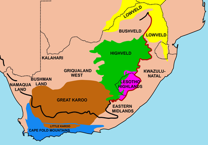 Important geographical regions in South Africa. The thick line traces the course of the Great Escarpment which edges the central plateau. The eastern portion of this line, coloured red, is the Drakensberg. The Escarpment rises to its highest point, at over 3,000 m (9,800 ft), where the Drakensberg forms the border between KwaZulu-Natal and Lesotho. None of the regions indicated on the map has a well-defined border, except where the Escarpment or a mountain range forms a clear dividing line between regions. Some of the better-known regions are coloured in; the others are simply indicated by their names. Regions of South Africa 1.png