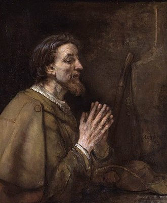 James, son of Zebedee - Saint James the Elder by Rembrandt He is depicted clothed as a pilgrim; note the scallop shell on his shoulder and his staff and pilgrim's hat beside him.