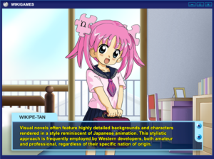 A cartoon girl in a sailor outfit stands in front of a window. The lower-third screen is covered by a translucent dialogue box.