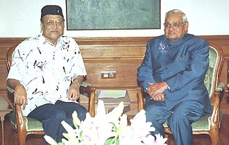 Bhupen Hazarika - Bhupen Hazarika meets the Prime Minister Shri Atal Bihari Vajpayee in New Delhi on February 27, 2004