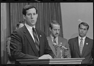 Rick Santorum - Representative Santorum in 1991. Representatives Frank Riggs and John Boehner stand behind him.