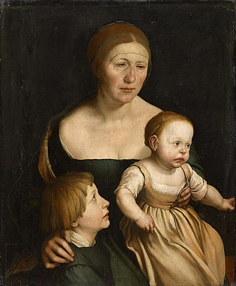 The Artist's Family, c. 1528. Oil and tempera on paper, cut out and mounted on wood. Kunstmuseum Basel. Retrato de la esposa del artista con sus dos hijos, por Hans Holbein el Joven.jpg