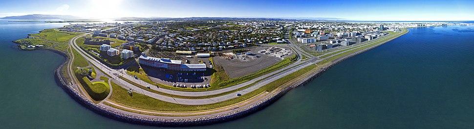 Reykjavik northeast aerial panorama
