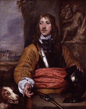 Buff coat - A cavalry officer of the English Civil War wearing a buff coat under a cuirass. The buff coat has sleeves decorated with bands of gold lace. Portrait by William Dobson, 17th century