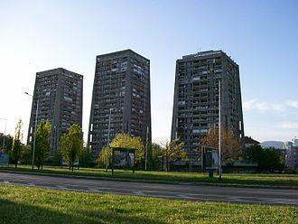 "Trnje, Zagreb - Richter's Skyscrapers, colloquially known as ""Rockets"", are three high-rise buildings located at Zeleni trg in Vrbik, part of Trnje"