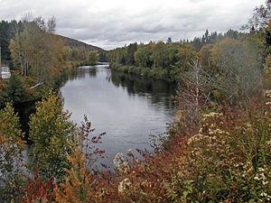 Rouge River (Quebec) - Rouge River from a bridge at Rivière-Rouge, Quebec