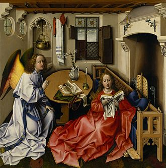 Annunciation (Memling) - Robert Campin's c. 1420s Annunciation panel, (Mérode Altarpiece), The Cloisters, New York, showing conventional iconography of a hearth and a vase of flowers