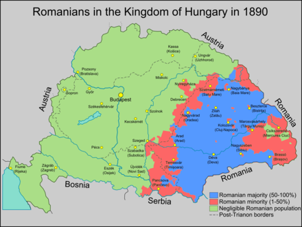 Ethnic map of Romanians within the Kingdom of Hungary in 1890 RomaniansInHungary1890.png