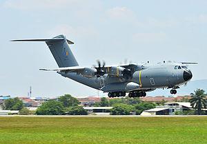 Equipment of the Royal Malaysian Air Force - Image: Royal Malaysian Air Force Airbus A400M Atlas at Subang Air Base