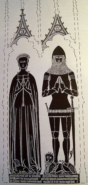 Kingston Russell - Sir Maurice Russell (1356-1416) of Dyrham and Kingston Russell and first wife Isabel Childrey. Rubbing from funerary brass at Dyrham Church. Note Russell armourials in small escutcheon in gable of canopy
