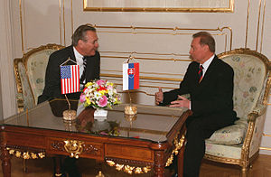 Rudolf Schuster - Secretary of Defense Donald H. Rumsfeld (left) meets with President of Slovakia Rudolf Schuster (right) at the Presidential Palace in Bratislava on 22 November 2002.