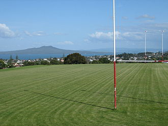 Rangitoto College - View from the playing fields to Rangitoto Island