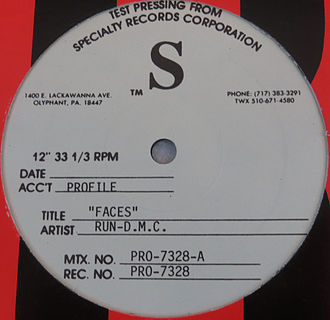 "Run-DMC - A test pressing release for the single ""Faces"" from the album Back from Hell"