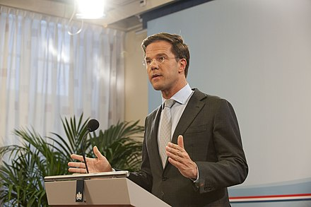 Rutte on his first day as Prime Minister on 14 October 2010 Rutte-persconferentie.jpg