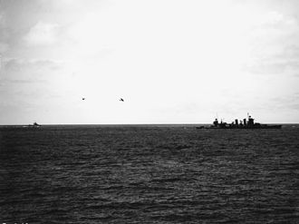 USS Astoria (CA-34) - A VB-3 Douglas SBD-3 Dauntless ditching near Astoria on 4 June 1942.