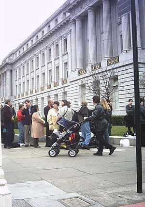 Same-sex marriage in California - The line of same-sex couples applying for marriage licenses stretched for blocks around San Francisco's City Hall in February 2004.