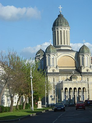 Dormition of the Theotokos Cathedral, Satu Mare - front view of church