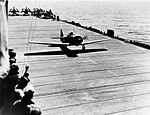 SNJ Texan taking off from USS Hoggatt Bay, circa in 1944 (UA 571.23).jpg