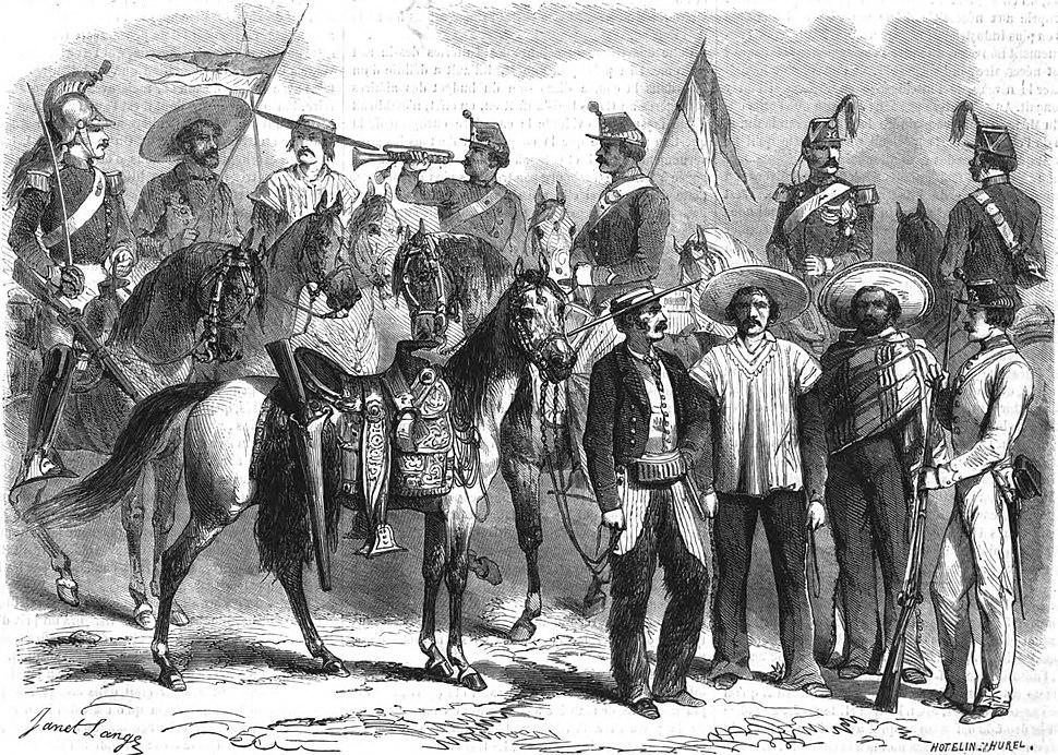 SOLDATS DE L'ARMÉE MEXICAINE. — D'après un croquis de M. Girardin, officier au 1er chasseurs d'Afrique