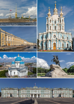 Clockwise from top left: Peter and Paul Fortress on Zayachy Island, Smolny Cathedral, Bronze Horseman on Senate Square, the Winter Palace, Trinity Cathedral, and the Moyka river with the General Staff Building.