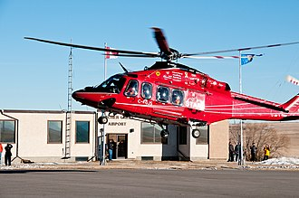 Shock Trauma Air Rescue Society - One of STARS' new AW139s lands in Pincher Creek, Alberta