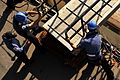 Sailors on HMS Westminster Positioning Gangway on Arrival in Port MOD 45156548.jpg