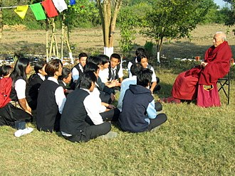 Samdhong Rinpoche - With Tibetan students at a vocational school in India with the Prime Minister of the Tibetan Government in Exile in 2007